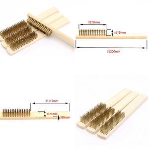 Деревянная ручка латунная проволока медная щетка для промышленных приборов поверхность внутренняя полировка шлифовальная очистка 6x16 ряд ручной инструмент оптом 73 м2