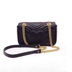 mulher Artsy mini-pochette Marmont 19 aba corrente de ouro bolsa preta de couro genuíno sacos de ombro saco crossbody bandolera de diseño bolsos