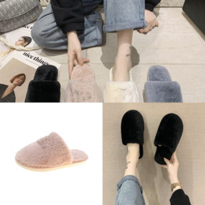 QYzGx Women Home Winter Fur home Faux Soft Cute Slippers Indoor Warm Shoes Cartoon Plush Teddy Bear anti-slip floor slipper cute plush