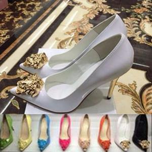 Fábrica de Moda Primavera Outono Pointed Toe ouro Ladies cabeça sapatos de salto alto de patentes Branco Preto vestido de couro Sapatos Mulheres Bombas Sapatos de trabalho