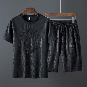 Online Fit с коротким рукавом футболка лето мужская корейский модный спортивный отдых свободный костюм плюс очень большой