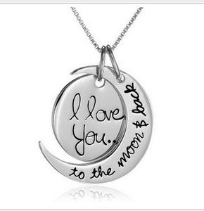 Dhl Fast Shipping Fashion Necklace Moon Necklace I Love You To The Moon And Back For Mom Sister Family Pendant Link Chain