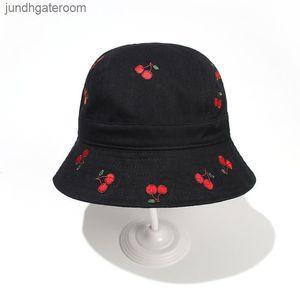 Cokk Hat Вышивка Вишневый Рыбак для Женщин Корейский Мода Сладкая Панама Крышка Ковш Шляпы Gorros Casquette Swy SQCLN