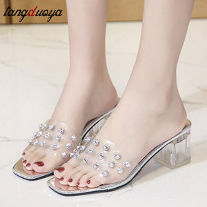 crystal sandals women summer rivet shoes clear high heels transparent pvc sandals open toe slippers women slides big size 34-43 Uzyg#