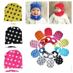 Estrellas Imprimir Beanie Hat and Bufanda 2 pieza Set Baby Kids Lindo Invierno Bandana Skull Caps Caps Boys Girls Toddler Sport Sport Bufanda Diadema Hats E121502