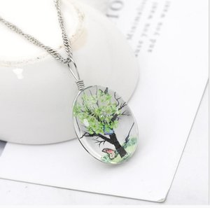 2021 Hot Vintage glass crystal plant time double-sided time gemstone tree of life lady dried flower pendant necklace zj-2557