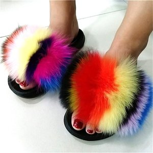 NEWDISCVRY 2020 New Fashion Women Fur Slippers Luxury Real Fur Beach Sandal Shoes Fluffy Comfy Furry Flip FlopsMore Customed