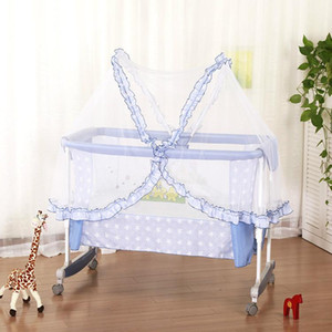 Multifunctional Newborn Crib Cradle Sleeping Bed Soft Baby Cradle Shaker Cribs Bed Rolling Wheel Baby Basket Mosquito net C01