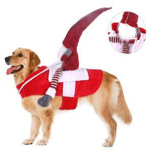 Pets Christmas Riding Costume Big Dog Puppy Christmas Santa Doll Clothes Winter Christmas Riding Cosplay Apparel GH1047