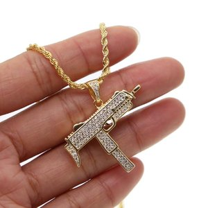 top quality cz MICRO PAVE Unisex Men Gold Color Machine Gun Pendant Necklace Long Chain Fashion Jewelry