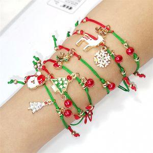Schöne Red Christmas String Armbänder mit Weihnachtsmann Deer Schnee Partei Bäume Adjustable Wickelarmbänder Weihnachtsverzierung neues Jahr-Geschenk
