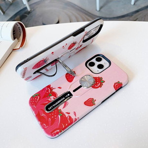 Magnetic Holder Ring leaf Cover Strawberr for iPhone 12 Pro Max Air Outlet Car Holder Case for iPhone 7 8 plus X XR XS MAX Invisible Bracket