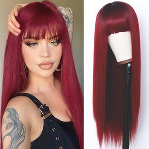 Perruques rouges Full Neat Bangs Long Silky Silky Wig Résistant à la chaleur Synthétique Fibre Synthetic Roots Dark Roots ombre Couleur Glânes Full Machine faite