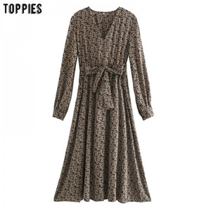 Toppies autunno stampa floreale vestito midi vestito irregolare dress dress abito lantern manica coreana moda sexy scollo a V elegante vestidos c0122