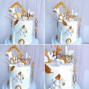 Festa de aniversário do bolo INS Feliz Aniversário Acrílico Bolo Topper ouro novidade do casamento do amor Topper Para Anniversary Detalhes