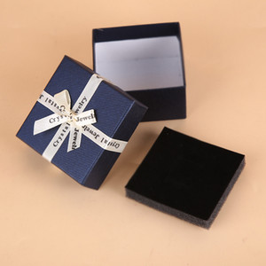 Gift Jewelry Box for Necklace Bracelet Earrings Ring Paper Packaging Boxes Jewelry Organizer Storage Ribbon Bow Packing Boxes Container