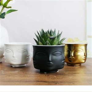 Human Face Flowerpot Ceramics Floral Vase Modern Succulent Plants Storage Tank Home Man And Women Contracted Style 15 5slH1