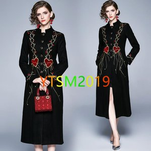 High end embroidery print trench coats Ladies single breasted cardigan outercoat Casual crew neck long sleeve slim windbreaker
