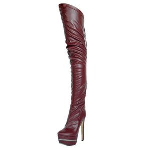 Olomm New Fashion Women Winter Over The Knee Boots Thin High Heel Boots Sexy Round Toe 4 Colors Party Shoes Women US Size 4-15