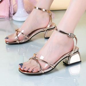 Luxury Woman Transparent Sandals 2020 Block Heels Shoes Female Comfort Leather Clear Sandal Ladies Casual Dress Sandalia Blokhak