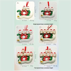 2020 Lovely Christmas Ornaments Personalized Family 2 3 4 5 PVC Decorations Masked Snowman Christmas Tree Hanging Pendant OWA1695