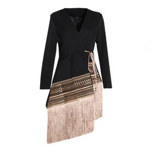 SeeBeautiful New Fashion 2020 Autumn V-neck Long Sleeve Embroidery Jacquard IrregularTassels Loose Coat Single Suit Woman Q378
