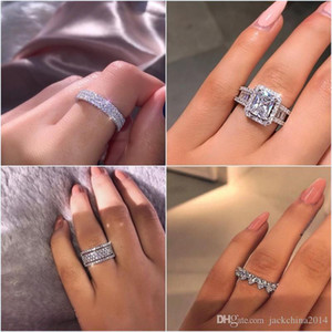 2019 INS Hot Sell Luxury Jewelry Real 925 Sterling Silver Pave White Sapphire CZ Diamond Gemstones Promise Women Wedding Engagement Ring