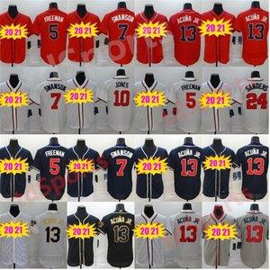 NUEVO 2020 hombres valientes Mujeres Jóvenes Béisbol 13 Ronald Acuna JR Jersey 5 Freddie Freeman 7 Dansby Swanson 24 Deion Sanders Jerseys