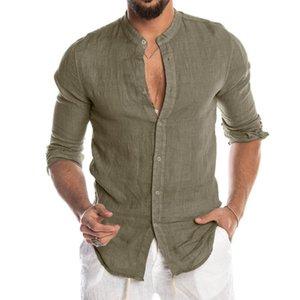 Verano camisas casual para hombre botón sólido de manga larga superior Blusas Masculino Camisas de la playa de los hombres adelgazan la capa Chemise Homme