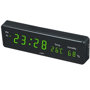 Home practical digital LED wall clock digital clock with and hygrometer with 3 alarm clocks