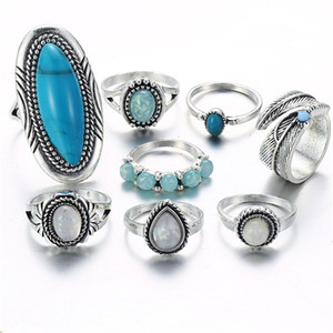 Hot Fashion Women Elegant Cluster Ring Multi-Piece Set Turquoise Personalized Open Super Beautiful Rings for Women .