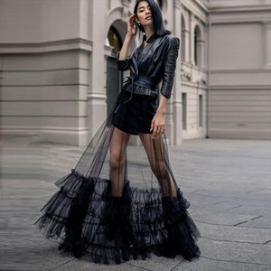 One Layer Sheer Tulle Maxi Skirt Long Black Ruffled Tulle Overskirt Women Tutu Skirt See Through Overlay Custom Made Cheap