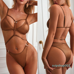 Bikini metal ring pit strip special fabric sexy Swimwear Women Bikini Set Beach Swimwear Suit Swimsuit Push Up Brazilian Suit