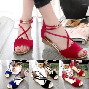 Üstüne Mato Yeni Balık Ağız Yaz Sandalet Zarif Dize Boncuk Sandalet Toka Düz Açık-Toe Roman Elbise Mujer Shoes1