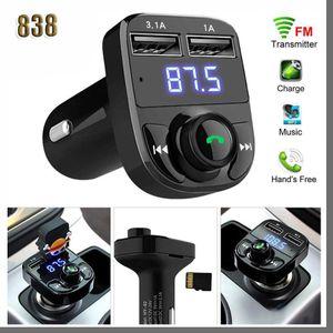 838D x8 FM 송신기 AUX 변조기 블루투스 핸즈프리 자동차 키트 자동차 오디오 MP3 플레이어 3.1A 빠른 충전 듀얼 USB 자동차 충전기 액세서리