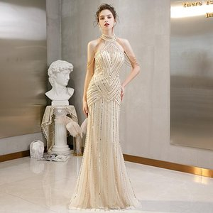 Real Photos Mermaid Gold Crystals Long Evening Dresses Luxury Beaded Halter Women Formal Sparkly Special Occasion Evening Gowns