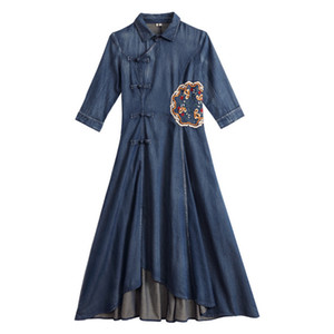 Elegant Bohemian Style Women Dress Female Casual Bracelet Sleeve Denim Embroidery Print Dresses Vintage Sweet Clothing Vestidos Y069