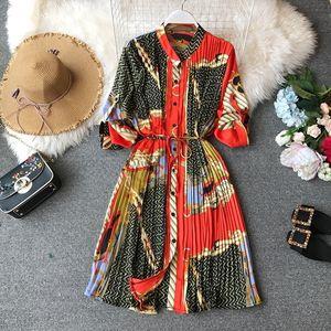 Spring Ladies Urban Chiffon Loose Printed Pleated Dress Women Fashion Festival Three Quarter Lantern Sleeves Knee-length Dress T200623