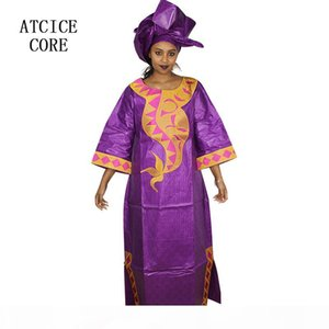 AFRICAN DRESSES RICHE BAZIN DESIGN DRESS PLAIN COLOR WITH SCARF A161#