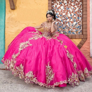 Off the Shoulder Fuchsia Quinceanera Dress Lace Up Corset Back Vestido De 15 Anos Beading Lace Sweet 16 Dress