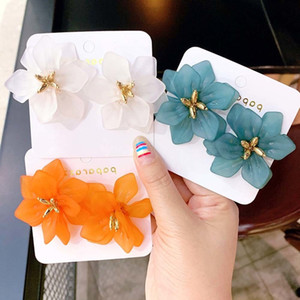 Hyperbole Flower Earrings Women Acrylic Big White Orange Green Flower Holiday Earrings 2019 New Design Exaggerated Resin Flower