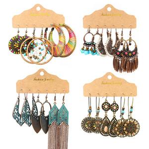 Boho Round Big Handmade Earrings Set for Woman Geometry Hollow Decorative Pattern Drops of Oil Tassel Long Earring