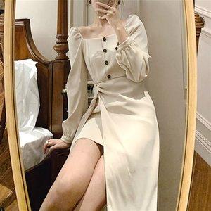 Элегантное платье женщины повседневная офисная леди MIDI платье шикарный квадратный воротник с длинным рукавом сексуальная вечеринка одно кусок платье корейский 2020 осень LJ201202