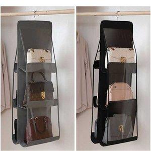 Новая мода складной 6 карманный подвесной сумка Организатор 3 слои складной полки для гардеробной шкаф для хранения сумка двери стены очищают Saildry
