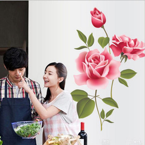 Romantic Love 3D Rose Flower Flower Background Stickers Furniture Living Room TV Wall Decor sticker Home Decor