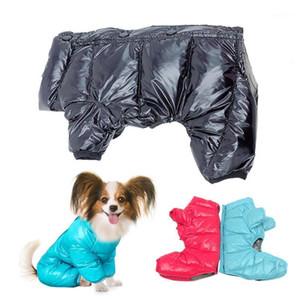 Mono impermeable para perros de invierno Mono de perro a prueba de agua para perros pequeños engrosados de algodón acolchado mascotas mono de mascota brillante PU caliente cachorro abrigo Yorki1