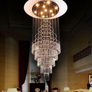 cristal de haute qualité K9 Spiral Staircase Villa plafond Lampes LED Style Moderne Pyramide Couches Penthouse Lustres Plafondlamp allume