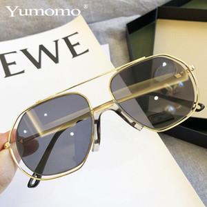 YUMOMO 2020 de lujo de gran tamaño gafas de sol de la lente redonda de la vendimia de las mujeres marca de diseño del capítulo del metal Señora Gafas de sol de señora Cool UV400