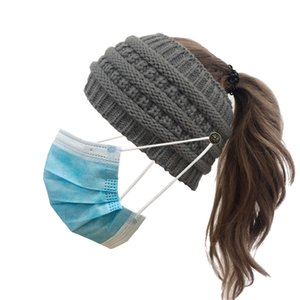 Face Mask Headband with Button Ear Protective Women Gym Sports Yoga cap Hairlace Headress Winter Warm Knit Hair Accessories