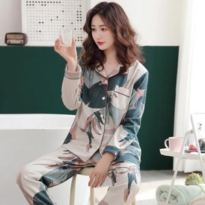 Finetoo Süt Ipek Uzun Kollu Pijama 2 adet / takım Baskılı Pijama Kadın Giyim Kadın Pijama Takım Elbise Kızlar Rahat Gece Pijama W1225